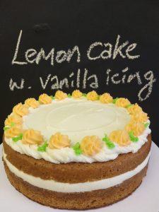Lemon cake with vanilla icing