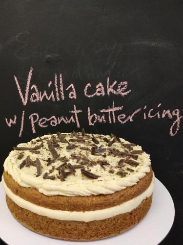 Vanilla cake with peanut butter icing